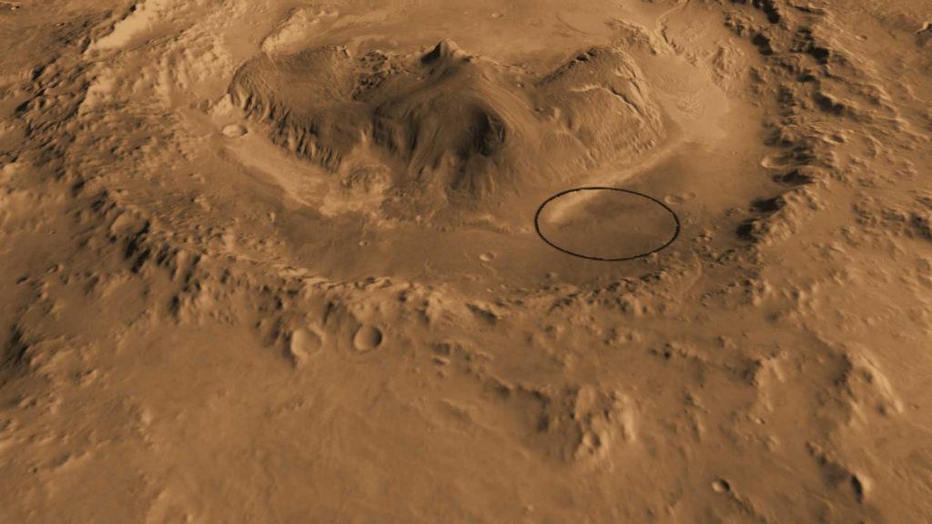 Locul de aterizare a lui Curiosity in interiorul craterului Gale