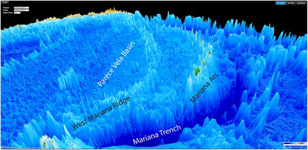 Harta 3D cu Groapa Marianelor